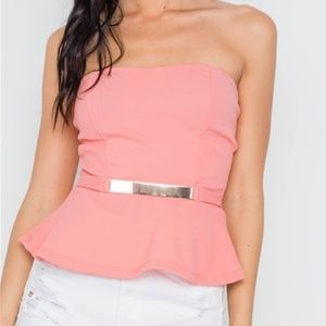 NEW-Coral Strapless Peplum Top w/Light Gold Accent